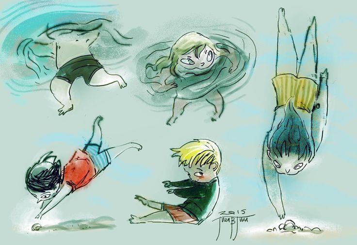 swimming children sketches