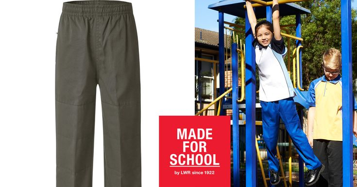 School pants with the added protection of double knees.  Our Deniehy pants are perfect for the active kids who enjoy sport at lunchtime.