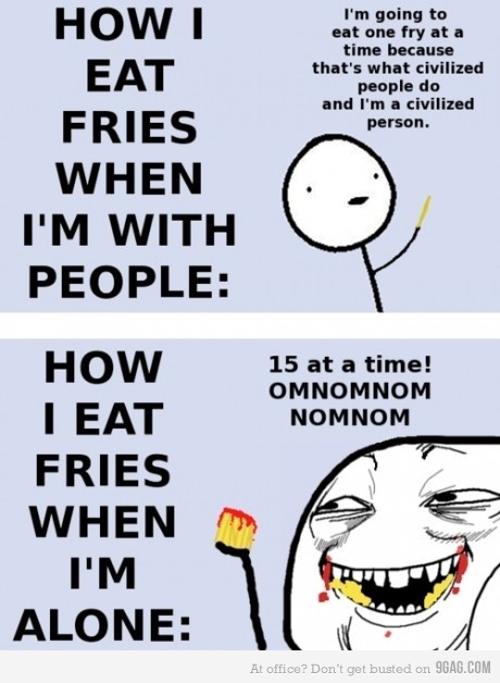Eating fries: Laughing, Sotrue, French Fries, So True, Funny Stuff, Funnies, Humor, Eating Fries, True Stories
