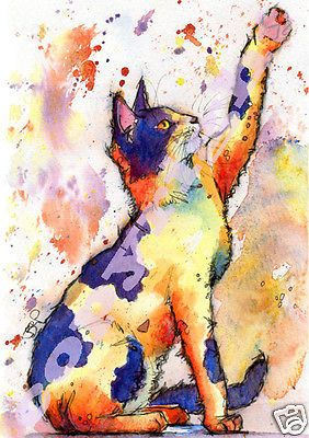 CAT KITTEN PRINT of Original Watercolour Painting Picture Art by JOSIE P 4 Sizes