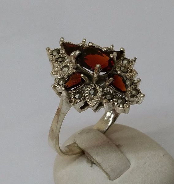 Antiker+Hessonit+Granat+Ring+Markasiten+SR419+von+Atelier+Regina++auf+DaWanda.com