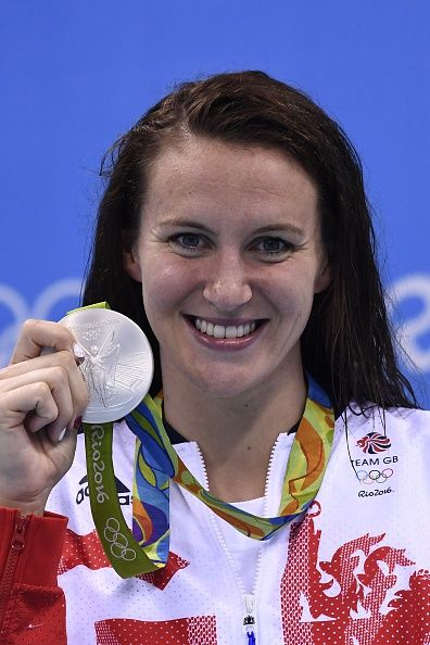 Britain's Jazz Carlin poses with her silver medal on the podium of the Women's…