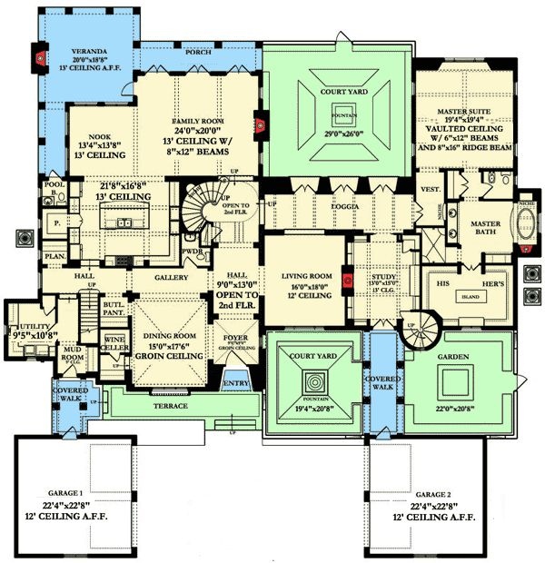 Spanish colonial courtyard house plans for Spanish colonial house plans
