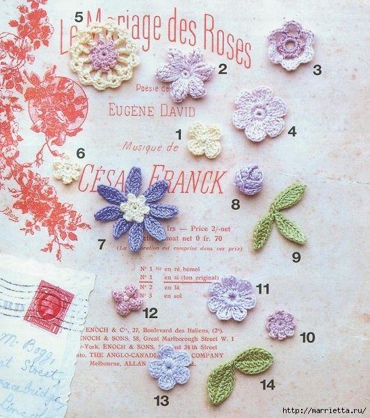 Ободок из цветочных мотивов для украшения летней шляпки. Схемы вязания миниатюрных цветочков для создания ободка, ожерелья или цветочного кружева.