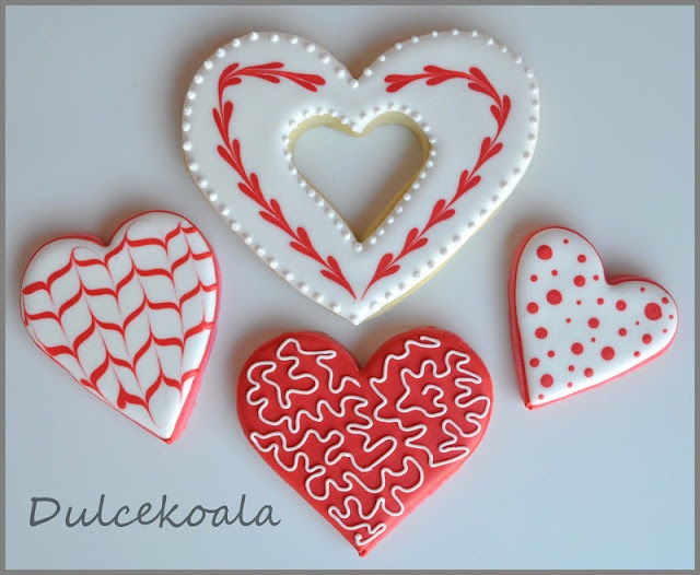 Galletas decoradas corazones / Love hearts decorated cookies