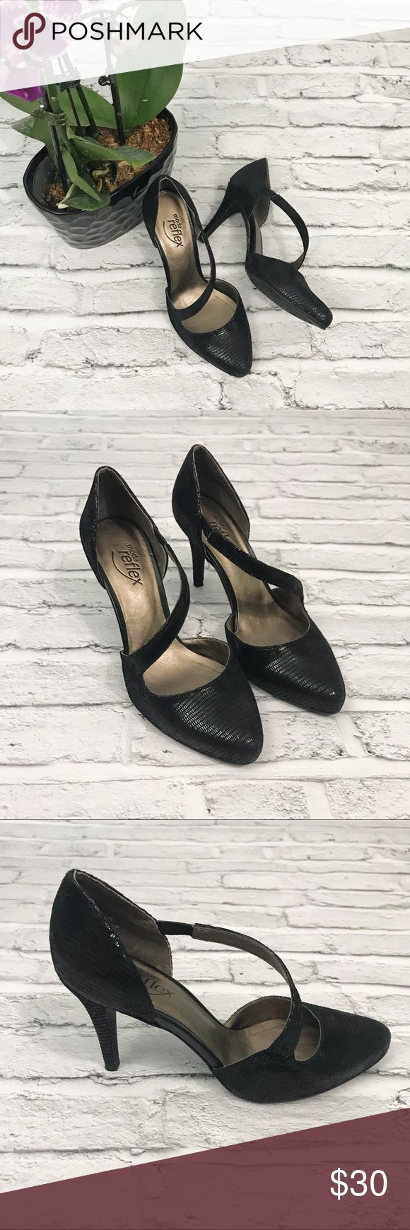 """Moda Reflex Black Faux Snakeskin Pump Size 6.5 Moda Reflex Faux Snakeskin Pumps. Super comfortable. Asymmetrical stretch ankle strap. Almond tie. Approximate heel height 3.25"""". Excellent Condition with the exception of minor wear of bottom of heel. Bundle and Save! Moda Reflex Shoes Heels"""
