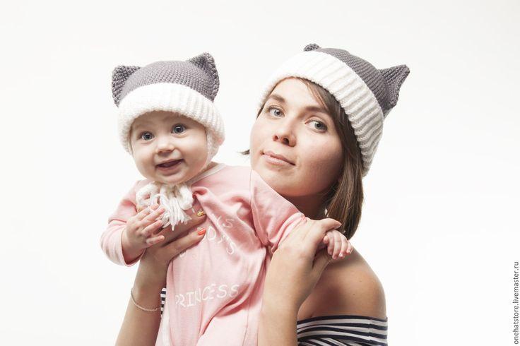 Купить Комплект для мамы и дочки - вязаная шапка-котик с ушками - вязаная шапка, шапка на ребенка