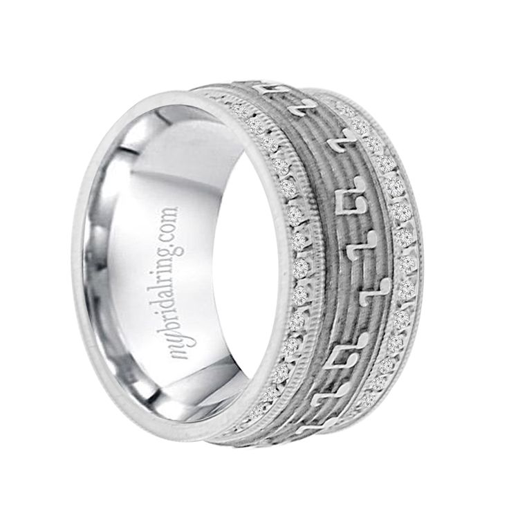 10mm 14k white gold mens personality wedding band in 2020