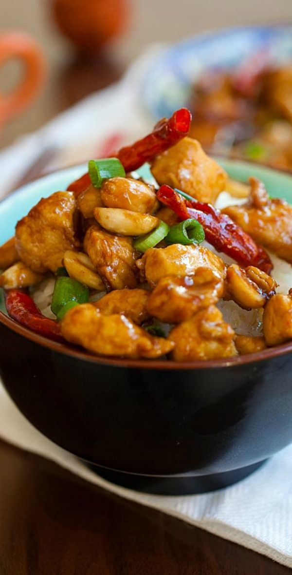 Kung Pao Chicken – healthy homemade Chinese chicken in savory and spicy Kung Pao sauce. Best Kung Pao Chicken recipe ever, much better than takeout | http://rasamalaysia.com