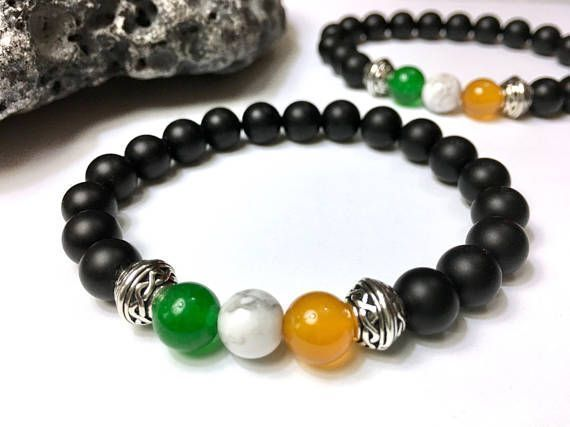 Men's Irish flag bracelet. Handmade, custom-sized. https://www.etsy.com/JoyfulByNature/listing/270148987/mens-bracelet-unique-mens-gift-irish?utm_content=bufferb21c5&utm_medium=social&utm_source=pinterest.com&utm_campaign=buffer #etsymntt #irish #Menswear #bracelet