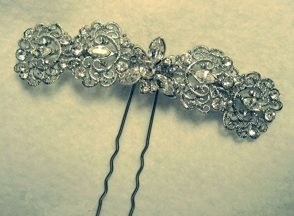 chantilly lace crystal filigree hair pin
