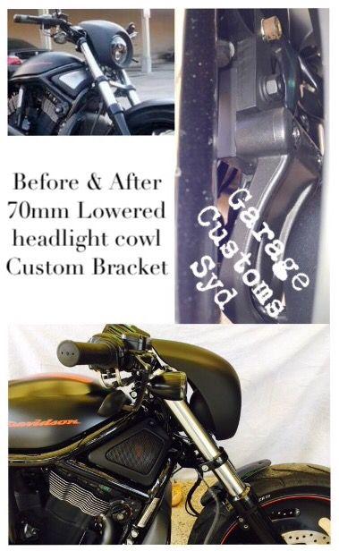 Custom Vrod Lowered Headlight Cowl, my self made 70mm lowered headlight bracket. GCs