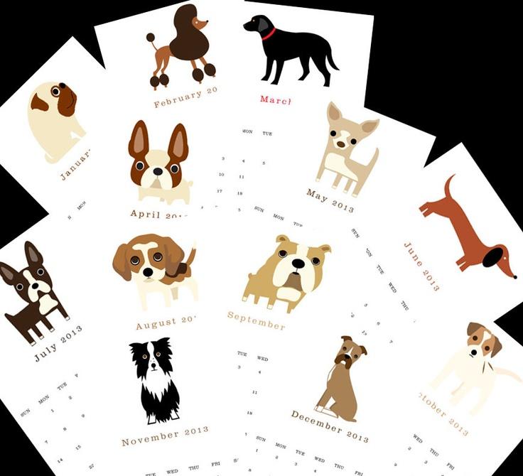 "2013 Calendar. Twelve (12) adorable dog illustrations, one for each month 5.5"" x 8.5"". $16.00, via Etsy."