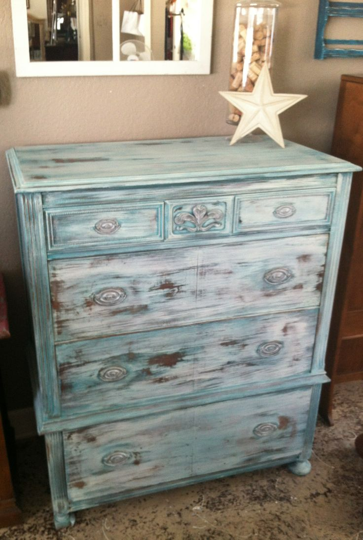 Antique Dresser using Dixie Belle chalk paint and Real Milk Paint (yes you  can layer - Antiqued Painted Furniture Antique Furniture