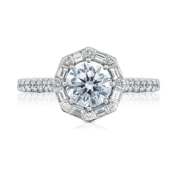 Tacori Petite Crescent Art Deco Bloom Engagement Setting ($5,690) ❤ liked on Polyvore featuring jewelry, rings, art deco rings, round halo diamond ring, white gold jewellery, tacori jewelry and white gold rings