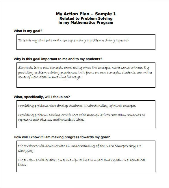 20 Action Plan Template For Students In 2020 With Images