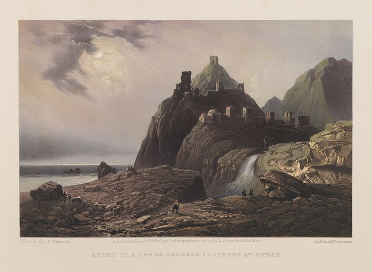https://flic.kr/p/ponwKt | Ruins of a Large Genoese Fortress at Sudak. | Title: Ruins of a Large Genoese Fortress at Sudak.  Creator: Bossoli, Carlo, 1815-1884 (delineator); Walker, Edmund, active 1836-1882 (lithographer)   Contributors: Day & Son (publisher)  Date: June 23, 1856  Part of: The beautiful scenery and chief places of interest throughout the Crimea from paintings  Place: Sudak, Crimea  Physical Description: 1 print: lithograph, color, part of 1 volume (65 prints); 20 x 28 cm...