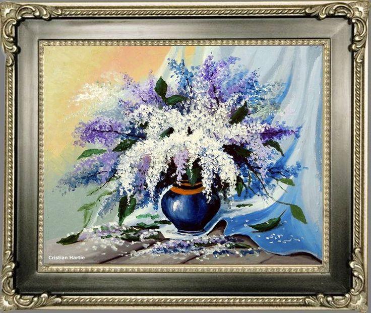 Flori de liliac / 50 x 40 cm / ulei pe panza Pictor Cristian Hartie