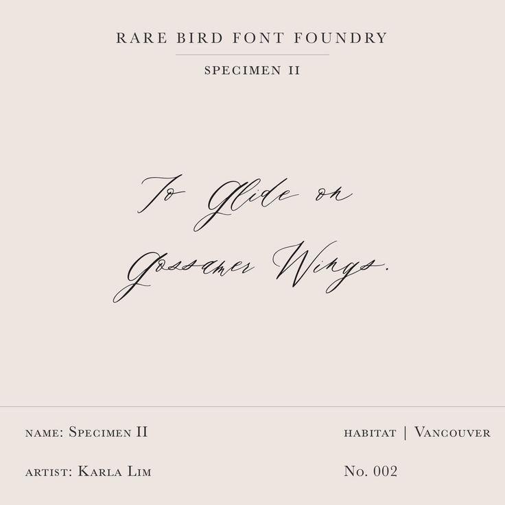 Rare Bird Font Foundry--Specimen II