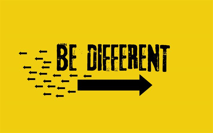 Télécharger fonds d'écran Être différent, des concepts, des citations de motivation, de grunge, de citations