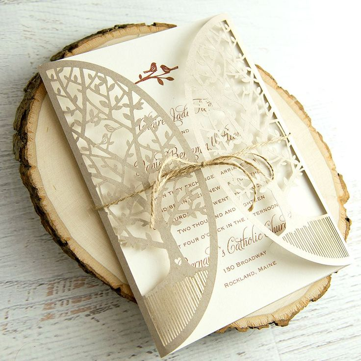 diy wedding invites rustic%0A In the Grove  Laser Cut Invitation
