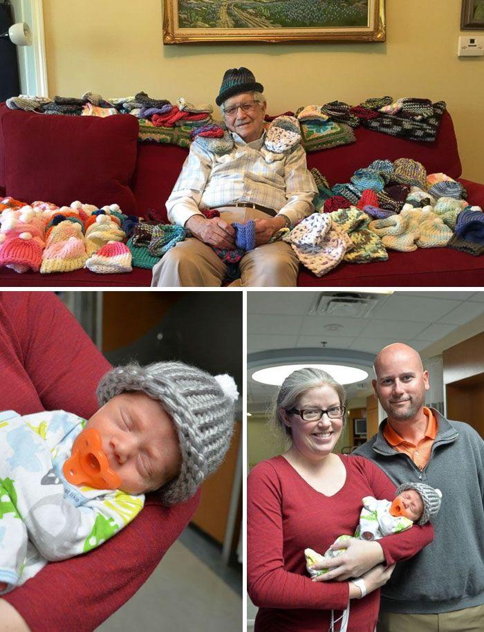 Un uomo di ottantasei anni ha imparato da autodidatta a lavorare a maglia e ha realizzato dei piccoli cappellini per neonati prematuri.