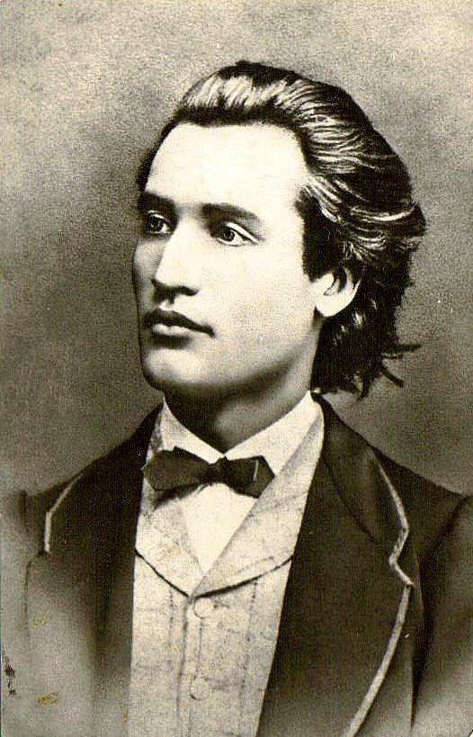 El poeta romántico rumano Mihai Eminescu en 1860, a los 19 años