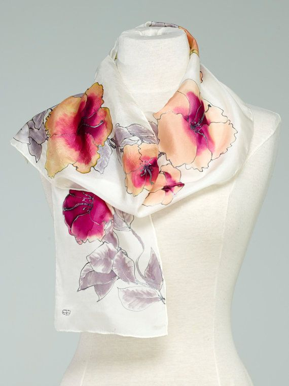 Hand Painted Silk Scarf, Silk Shawl using French dyes. Orange hibiscus.