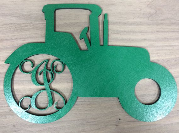 Unfinished Wood Tractor Monogram Door Hanger Laser Cutout W/ Your Initial,  Block Or Script Font, Various Sizes, Home Decor, Country, Farm