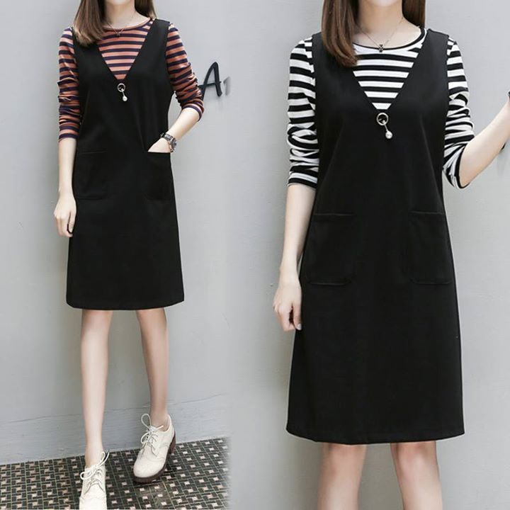 Street Casual Plus Size Black Jumper Dress With Stripe Tee Set Shop at www.plusylicious.com #plussize #drone #shopping #fashion # FactoryDirect