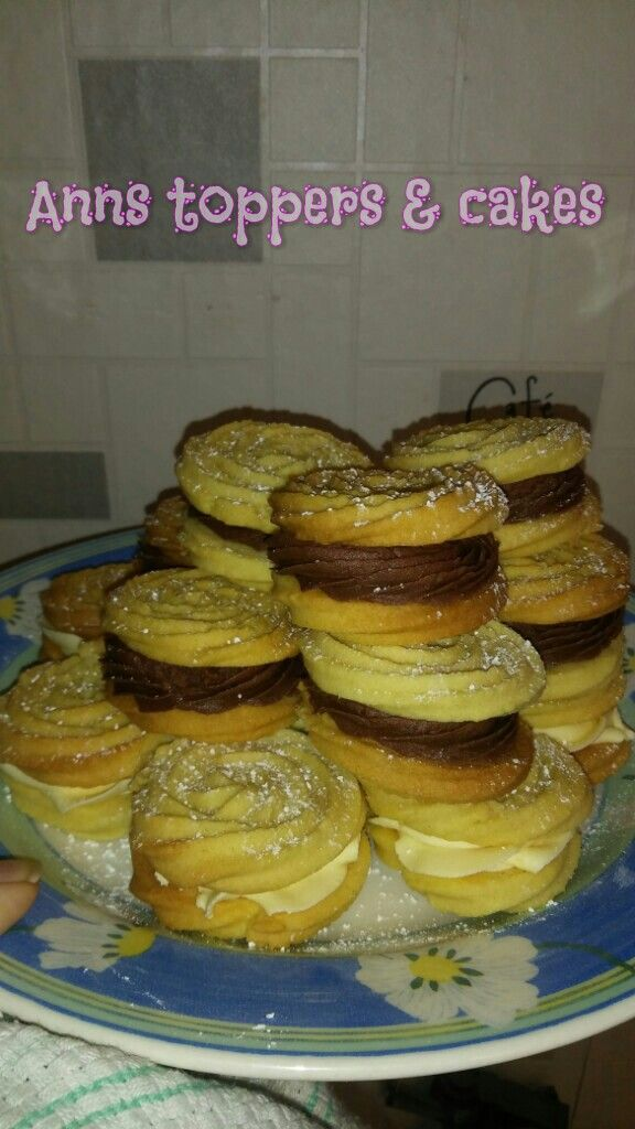 Homemade Viennese whirls with a coconut and pina colado filling
