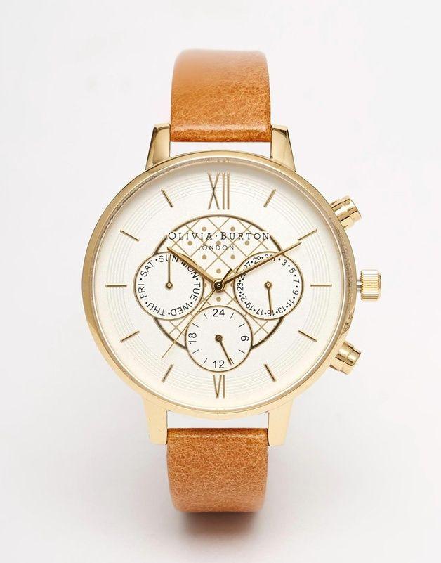 Olivia Burton - Montre chronographe a gros cadran et bracelet en cuir chez ASOS shoping tenuedujour lookdujour mode femme ete achat fashion mignon jolie tendance ootd lux accesoires bijoux