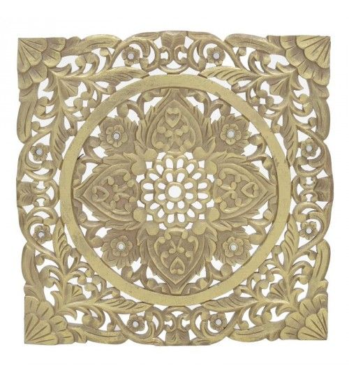 WOODEN WALL DECORATION IN GOLDEN COLOR 60X2X60
