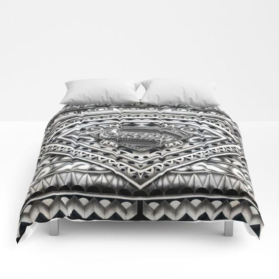 Super Hope sign Aztec pattern COMFORTERS #comforters #bedroom #room #home #homedecor #superman #aztec #logo #superhero #pattern #justicleague