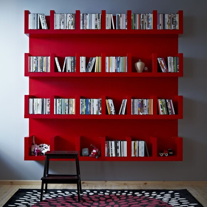 Organizing your cds, dvds and books is a snap with the LACK shelving unit.