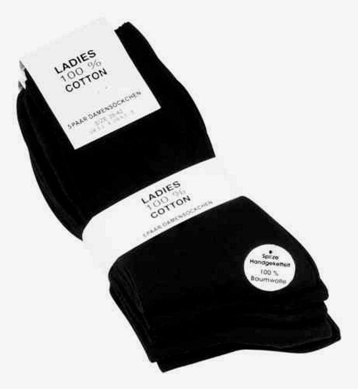 Ladies Socken 5er Pack Größe 35-38 100% Baumwolle Schwarz 40° Waschbar !