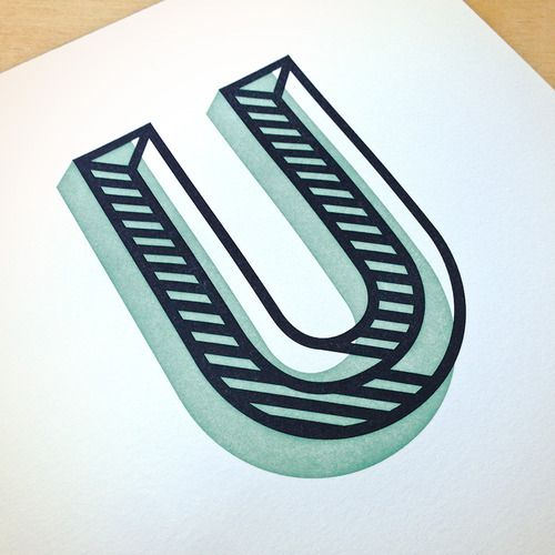 """u"" type design / font / lettering / shapes / geometric / lines / 3D / dimensional type"