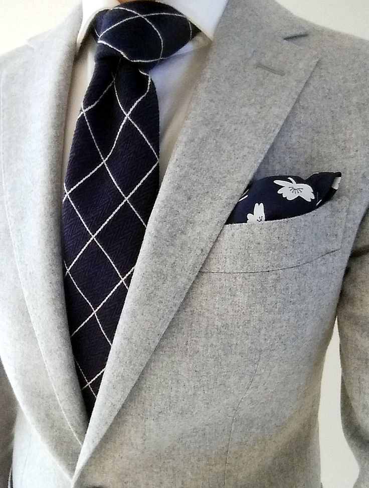 Blue windowpane tie from Boggi Milano with gray Havana Suit from Suitsupply…