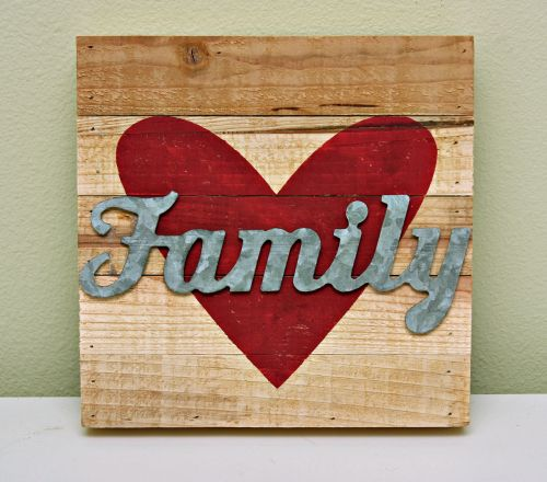 Love Family Sign by Summer Fullerton featuring Jillibean Soup Mix the Media wood planks and Naturalist Galvanized Family sign