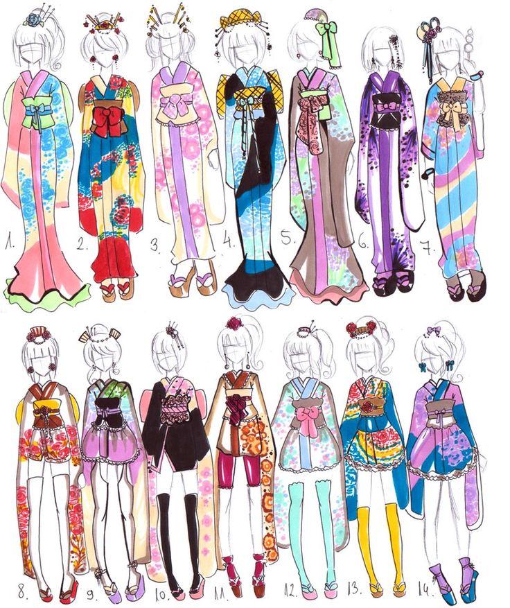Kimono designs CLOSED by GuppieAdopts on deviantART