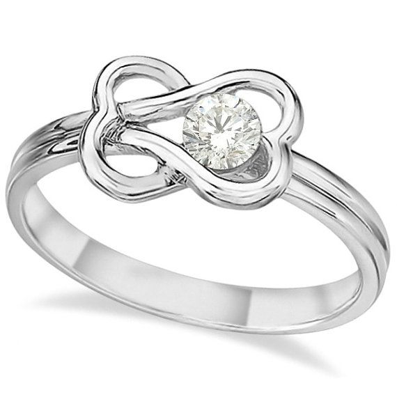 0.25ct Diamond Love Knot RightHand Ring 14k White Gold by Allurez, $1039.50