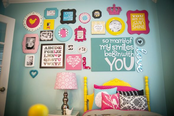 Love the Wall Collage!Wall Collage, Wall Art, Little Girls Room, Colors, Cute Ideas, Kids Room, Big Girl Rooms, Big Girls Room, Gallery Wall
