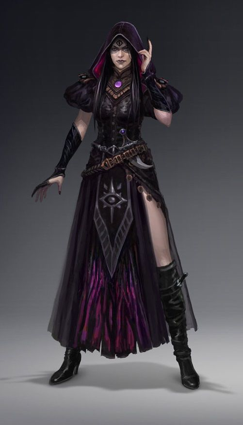 Human Half-Elf Female Spellcaster Arcane Sorcerer warlock Necromancer Light Dark Evil