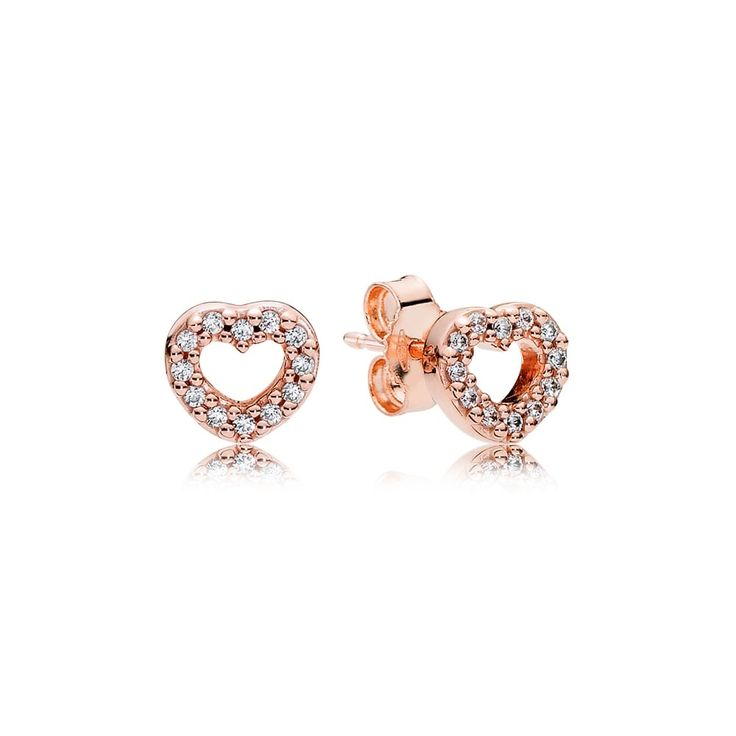 Pandora Rose Captured Hearts Stud Earrings 280528CZ