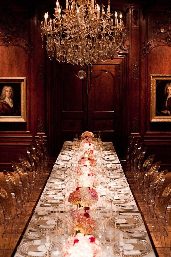 love the juxtaposition of the regality and modern flair of this dinner party.