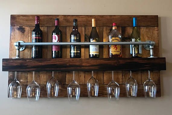 Industrial Wine Rack  Gift for Her  Rustic Wine Rack  Wall