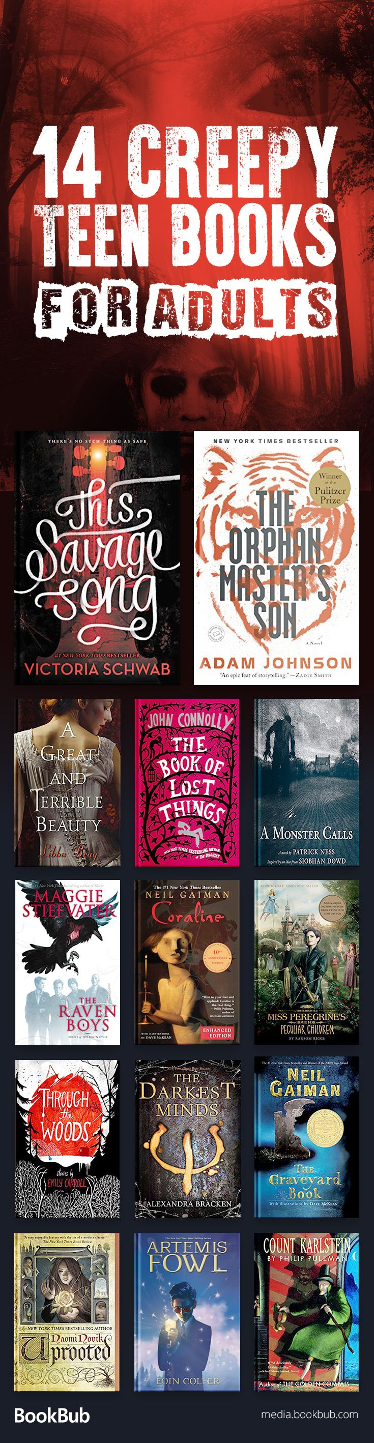 14 creepy young adult books to read. These books for teens include bestselling series and great fiction.