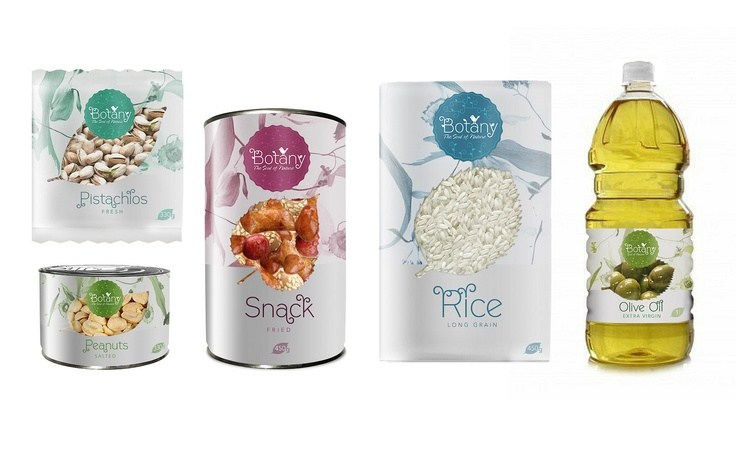 Botany - snacks, rice, nuts, oil. Brand concept, logo and packaging designed by PackAge. Lithuania.