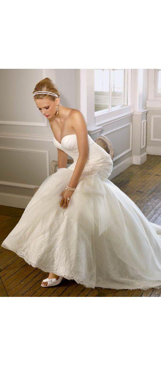 Aus Organza Herz-Ausschnitt Sweep/Pinsel Zug Reißverschluss Weiß Meerjungfrau Brautkleid Corsage