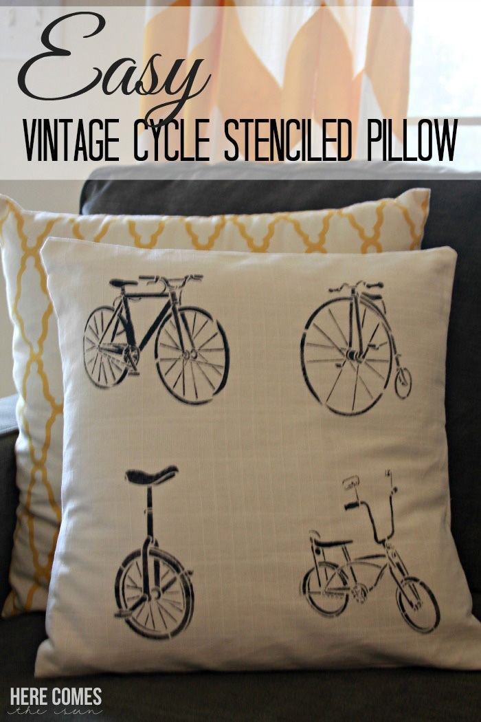 Create this easy vintage cycle stenciled pillow in less than 30 minutes!